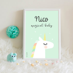 lamina personalizada infantil MrMint unicornio mint