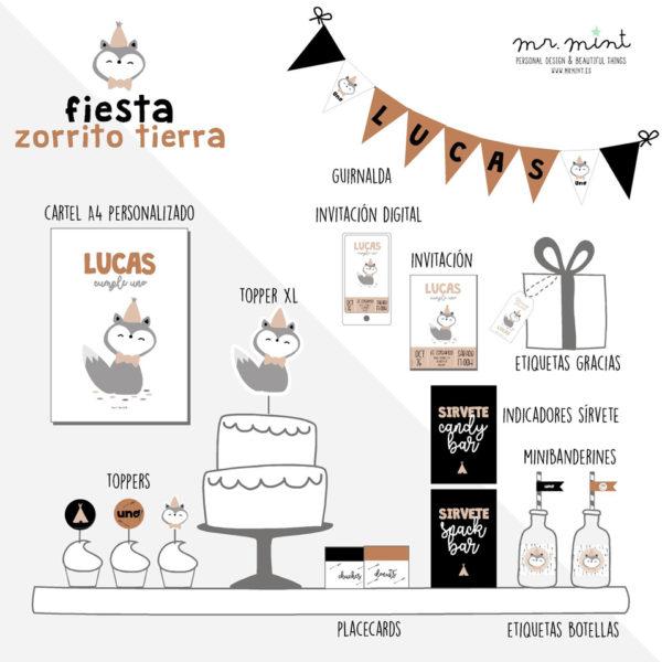 pack fiesta personalizada cumple zorrito