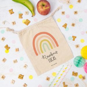 bolsa almuerzo cole personalizada arcoiris