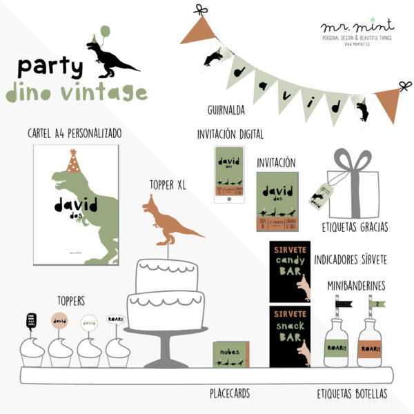 Presentacion fiesta cumple personalizada Dino