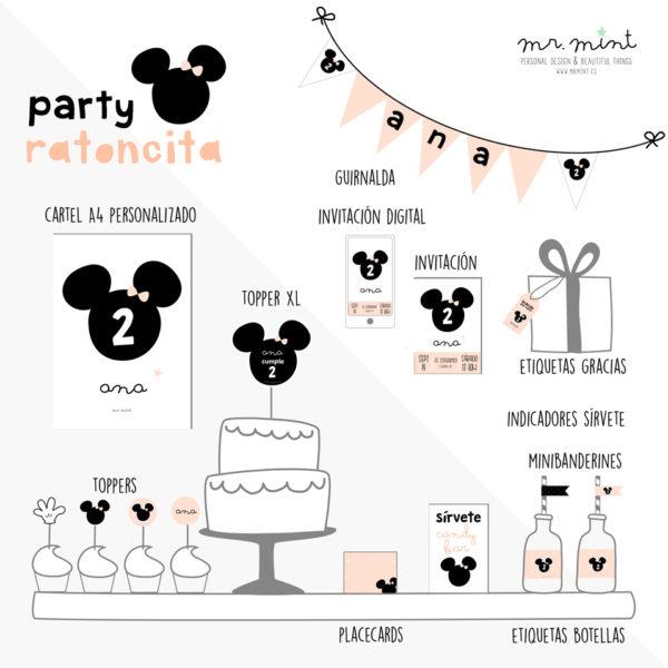Presentacion fiesta cumple personalizada ratoncita