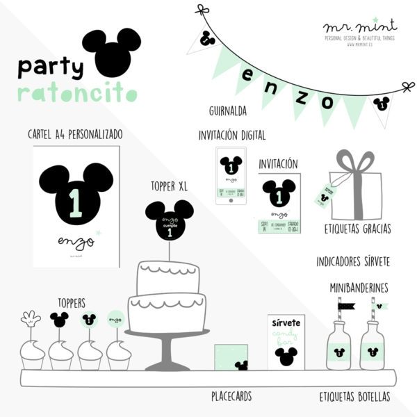 Presentacion fiesta cumple personalizada ratoncito