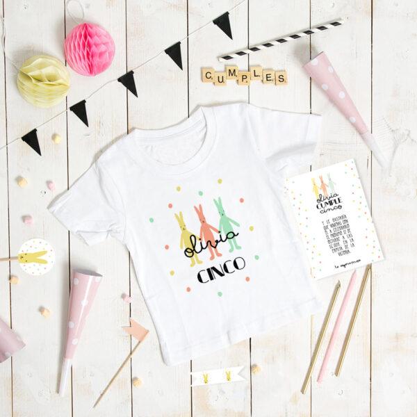 camiseta conejitos personalizada cumple