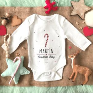 Body bebe Baston Navidad Personalizado Mrmint